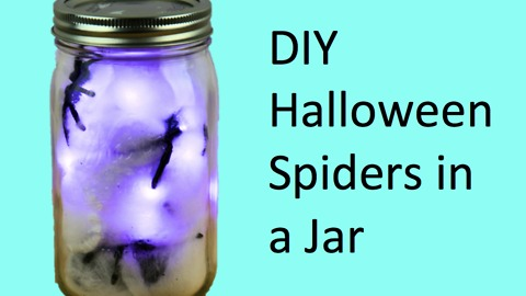 DIY Halloween spiders in a jar