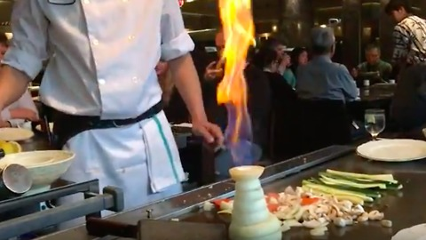 Epic onion volcano at Japanese steakhouse