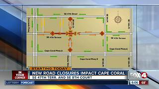 Traffic congestion increases as streetscape blocks Cape Coral intersection Monday - Video