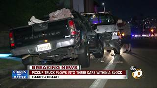 Pickup truck plows into three cars within a block - Video