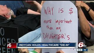 "IndyCan holds Healthcare ""Die-In"" downtown"