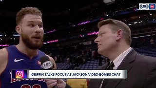 Blake Griffin talks 'focus' as Reggie Jackson photobombs
