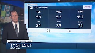 Flurries and light drizzle otherwise cloudy skies