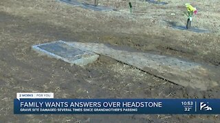 Family upset after gravesite repeatedly damaged