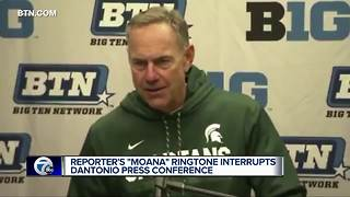 The Rock responds to 'Moana' ringtone during Dantonio presser