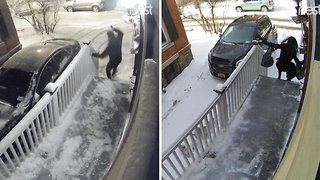 The Couple That Slips Together: Hilarious Moment Couple Both Slip On Same Icy Step Just Hours Apart