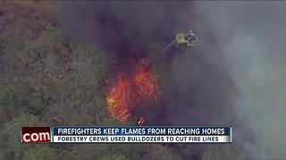 Firefighters keep flames from reaching homes - Video