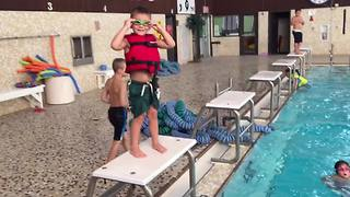 Little Boy's Pool Dive Fail - Video