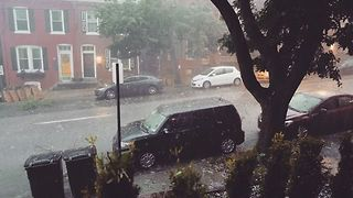 Hail Pelts Lancaster During Strong Summer Storm - Video