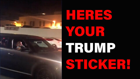 In Beverly Hills If You Heckle The Trump Crowd You Get A FREE Sticker!