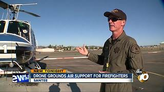 Drone grounds air support for firefighters - Video
