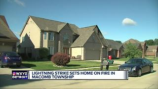 Lightning strike sets home on fire in Macomb Township - Video