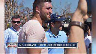 Senator Marco Rubio and Tim Tebow delivered supplies in the Florida Keys on Thursday - Video