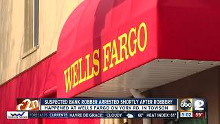 Wells Fargo Bank in Towson robbed - Video