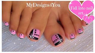 How to create this easy pink and black toenail design - Video