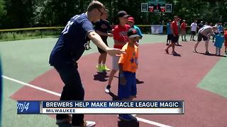 From batting to loading bases, Brewers help Miracle League participants play ball - Video