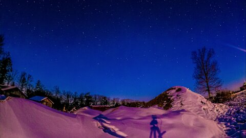 Magical snow dune sunset & moonset star lapse