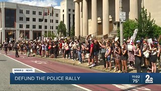 Protest, rally held in Downtown Baltimore to defund the police department