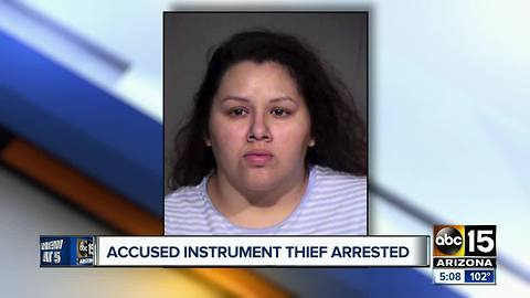 Woman allegedly steals musical instrumentso