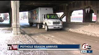 Pothole season arrives in Indiana - Video