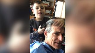 Kid Gives Dad A Surprising Haircut - Video