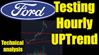 Ford Stock Technical Analysis testing hourly trend line