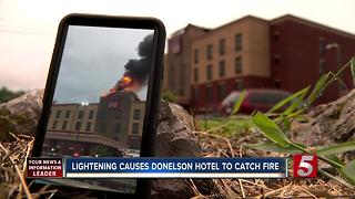 Lightning Causes Fire At Comfort Suites - Video