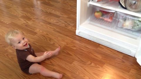 Baby Boy Cries When Mom Closes the Fridge and He Loses Sight of the Food