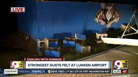 Strongest gusts felt at Lunken Airport