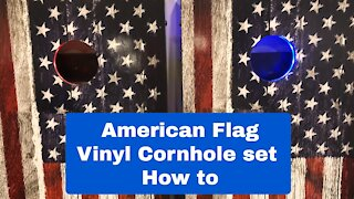 How to Build a Cornhole set with Vinyl Decal.