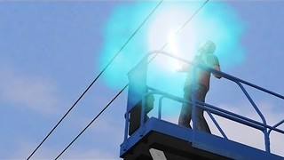A Worker Performing Service Checks On A Scissor Lift Electrocuted  - Video