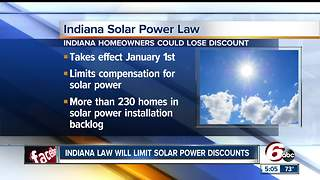 Indiana law will limit solar power discounts - Video