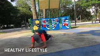Mummy and Macaw Exercise in Public Together - Video