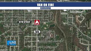Van catches fire in Kaukauna - Video