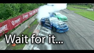 Drifting Racecars Nearly Knock Drone From Sky - Video