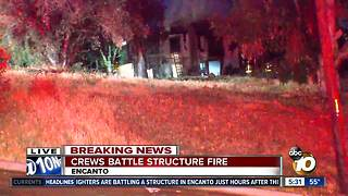 Crews battle two San Diego house fires overnight - Video