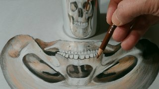 How to draw an anamorphic skull - Video