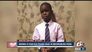 Body of missing 8-year-old Louisville boy found in Brownsburg pond - Video