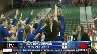CSUB volleyball wins WAC Tournament over UTRGV earning 2nd ever NCAA bid - Video