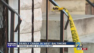 Woman Killed, 2 Drivers Hurt in West Baltimore Crash