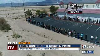 powerball line in primm with drone