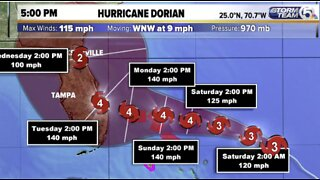 Hurricane Dorian's winds grow to 115 mph, now a Category 3 storm, expected to hit Florida Tuesday as Category 4