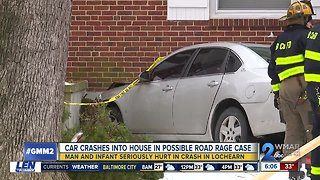 Man, infant injured after car crashes into Lochearn home