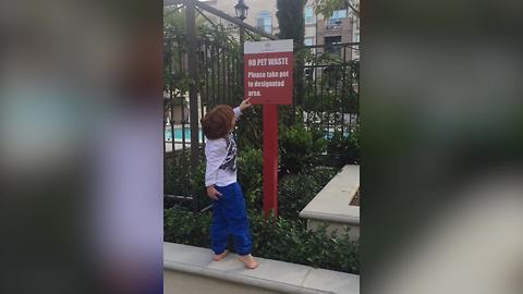 Boy Reads No Pet Waste Sign And Then Steps In Dog Poop