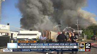Hot spots still a concern after massive warehouse fire in Baltimore - Video
