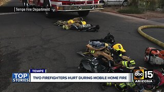 Two firefighters hospitalized after mobile home fire in Tempe