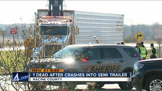 1 person dead after car, semi crash on Highway 11 in Racine County - Video