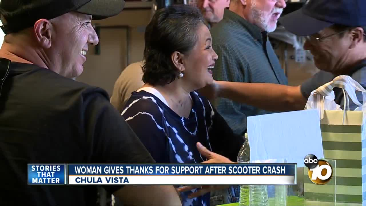 Woman gives thanks for support after scooter crash