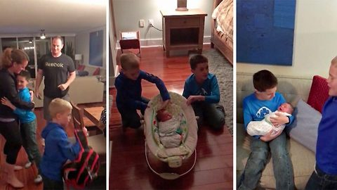 Adorable moment sons jump with joy as mum and dad surprise with new baby brother they adopted in secret