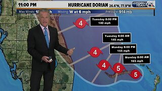 Category 5 Dorian packing 180 mph winds, Hurricane Warning for Jupiter Inlet to Brevard/Volusia